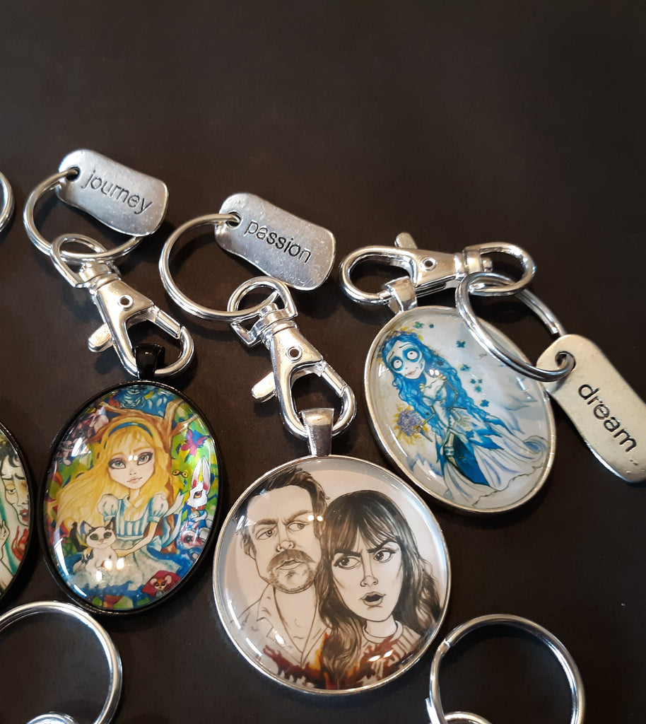 Original Art Keychains with Charms