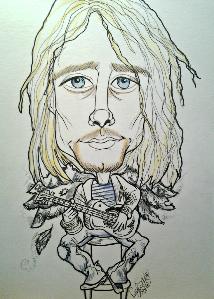Kurt Cobain Nirvana Pop Portrait Rock and Roll Caricature Music Art