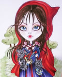 Little Red Riding Hood and the Wolfies Fairytale Big Eye Art Print