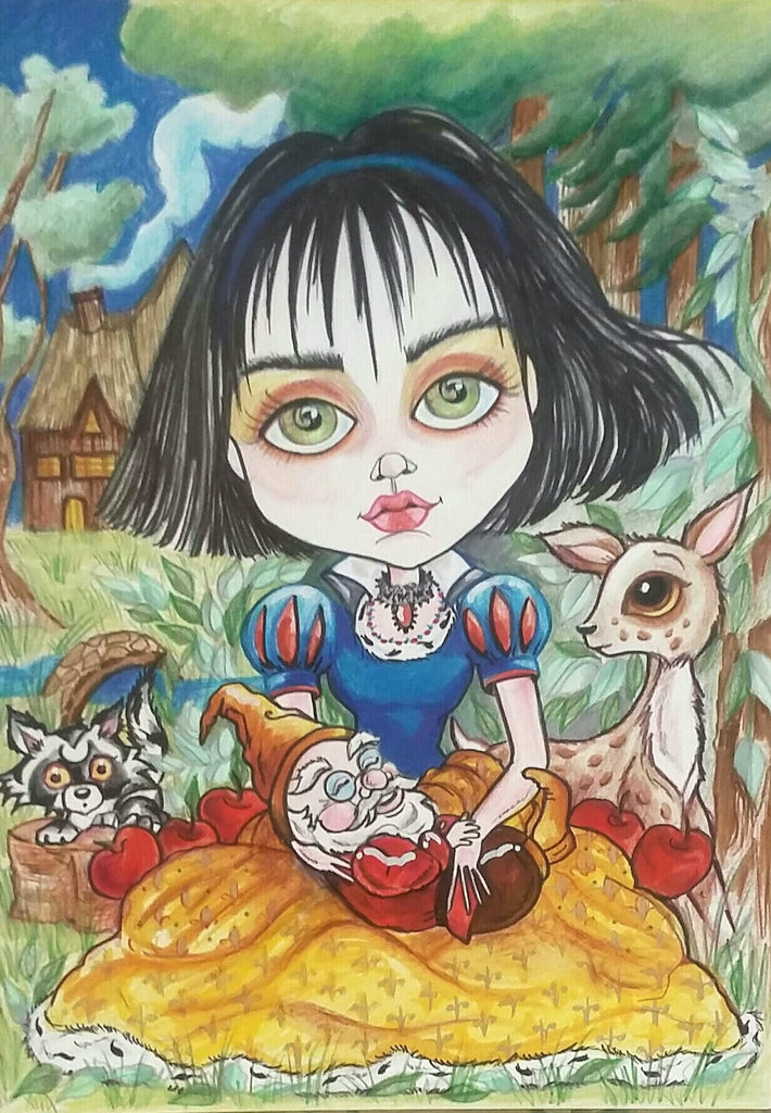 Little Snow and Doc Fairytale Fantasy Art Print