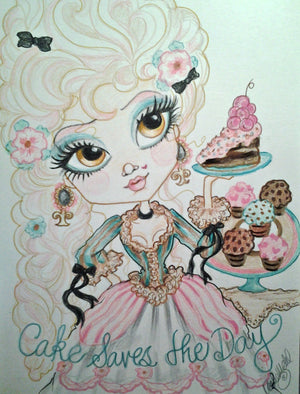 Queenie says Cake Saves The Day  Big Eye Art Print