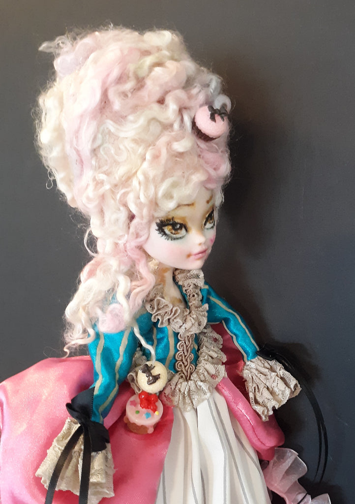 OOAK Marie Antionette Doll Monster High Doll Repaint Fantasy Doll by Leslie Mehl Art