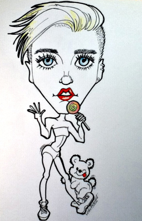 Miley  Cyrus Rock and Roll Caricature