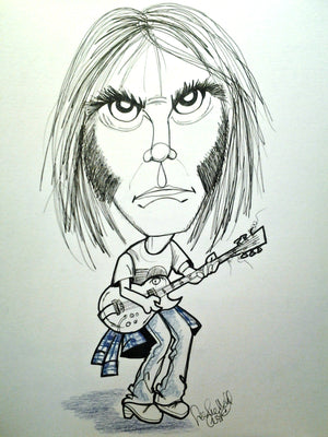 Neil Young Pop Portrait Rock and Roll Caricature Music Art