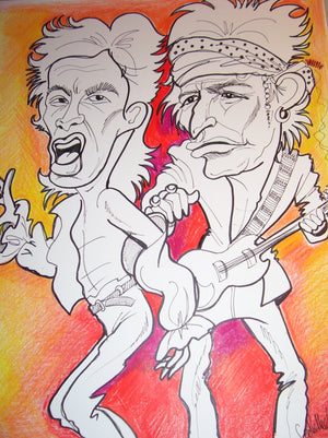 Old Mick and Old Keith Rock and Roll Caricature