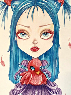 Fantasy Red Bird and Olive Lowbrow Art Print