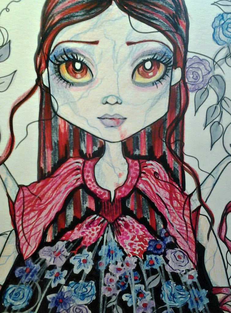 The Mystical Oracle Big Eye Fantasy ARt Print by Leslie Mehl