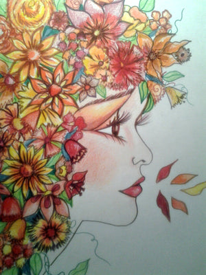 Orange Delight Womans Face Orange Floral Art Print