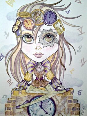 Out of Time Big Eye Fantasy Girl Art Print by Leslie Mehl