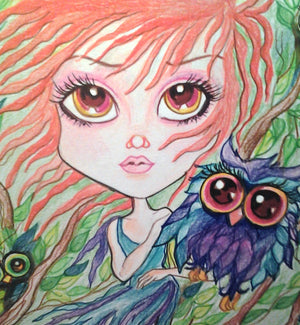 Fantasy Owl Girl and little Hoots Art Print