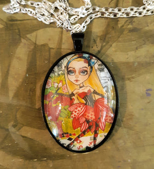 Alice and the Roses Art Jewelry Fairytale Pendant