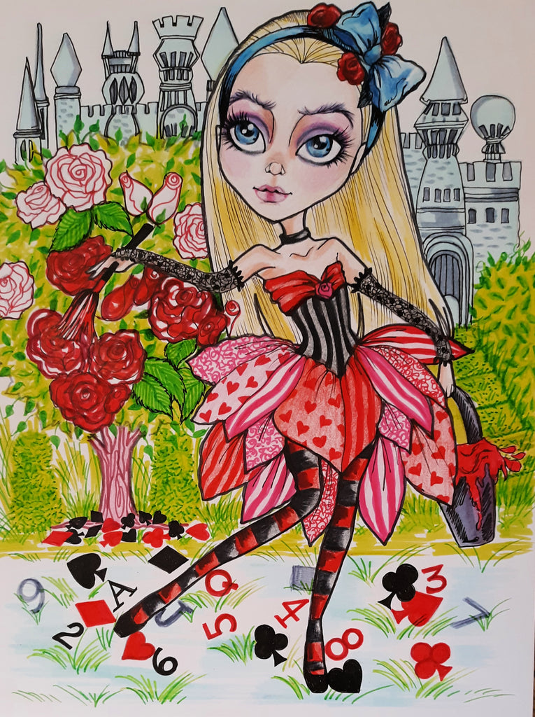 Alice  In Wonderland Painting The Roses Red Fairytale Art