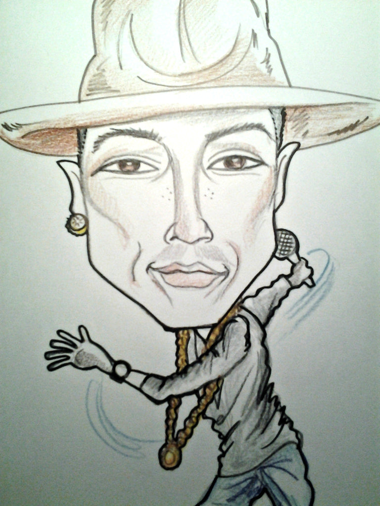Pharrell Williams Rock and Roll Caricature