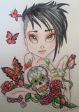 Punk Princess Goth Sugar Skull Big Eye Art Print