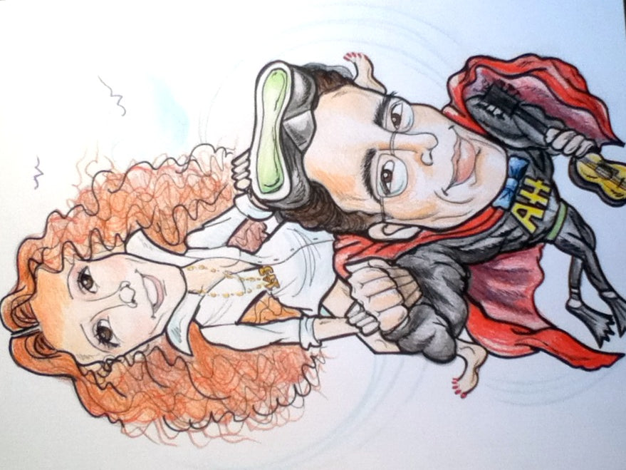 Caricature of Two People in Color