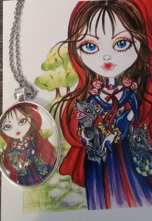 Fantasy Little Red Riding Hood Horror Art Pendant
