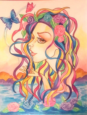Ribbon Lady of The Lake Fantasy Art Print