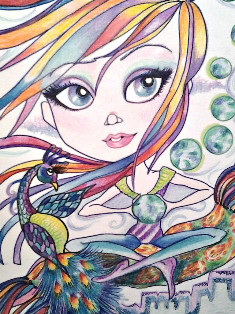 Celebrate The World Big Eye Fantasy Girl Art Print By Leslie Mehl