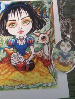 Snow White and Her Dwarf Fairytale Art Pendant