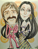 Sonny and Cher Pop Portrait Music Art Rock and Roll Caricature
