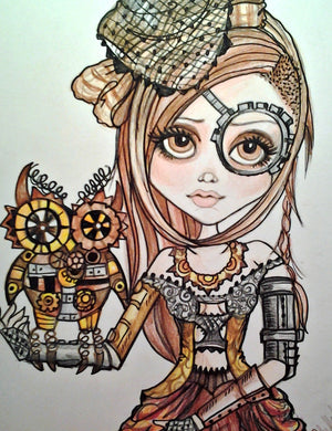 Fantasy Steampunk Girl with Owl Art Print