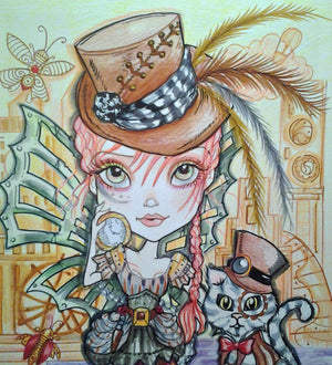 Steampunk Girl and Cat Fantasy Art Print