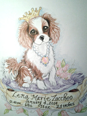 Custom Art Pet Portrait  Dog Full Color 11 x 14