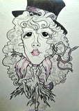 Stevie Nicks Gypsy Pop Portrait Rock and Roll Caricature Music Art