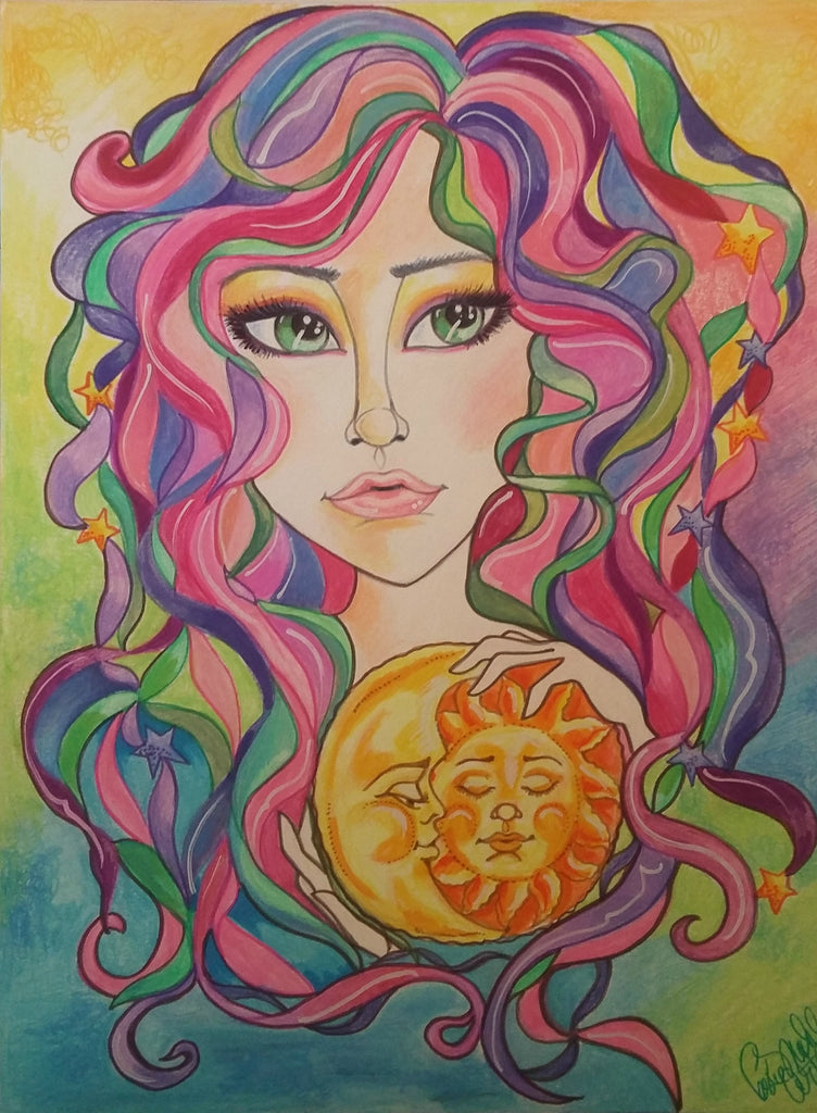 Sun and Moon Goddess Pop Portrait Fantasy Art Print