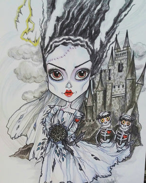 Frankenstein's Bride Horror Fantasy Lowbrow Art Print