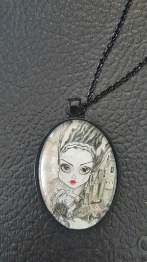 Bride of Frankenstein Horror Art Pendant Big Eye Pendant