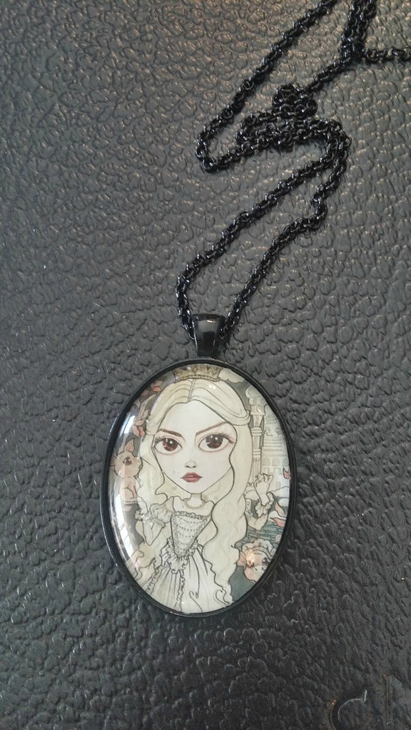 Horror Art White Queen Wonderland Pendant