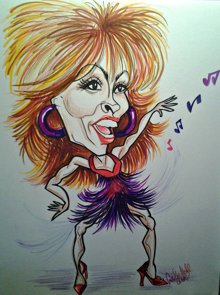Tina Turner Rock and Roll Caricature Art Print