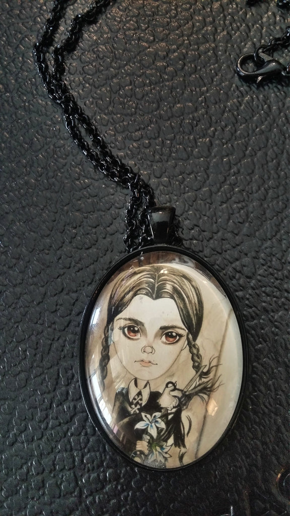 Horror Art Pendant Wednesday Cuts Her Hair Necklace