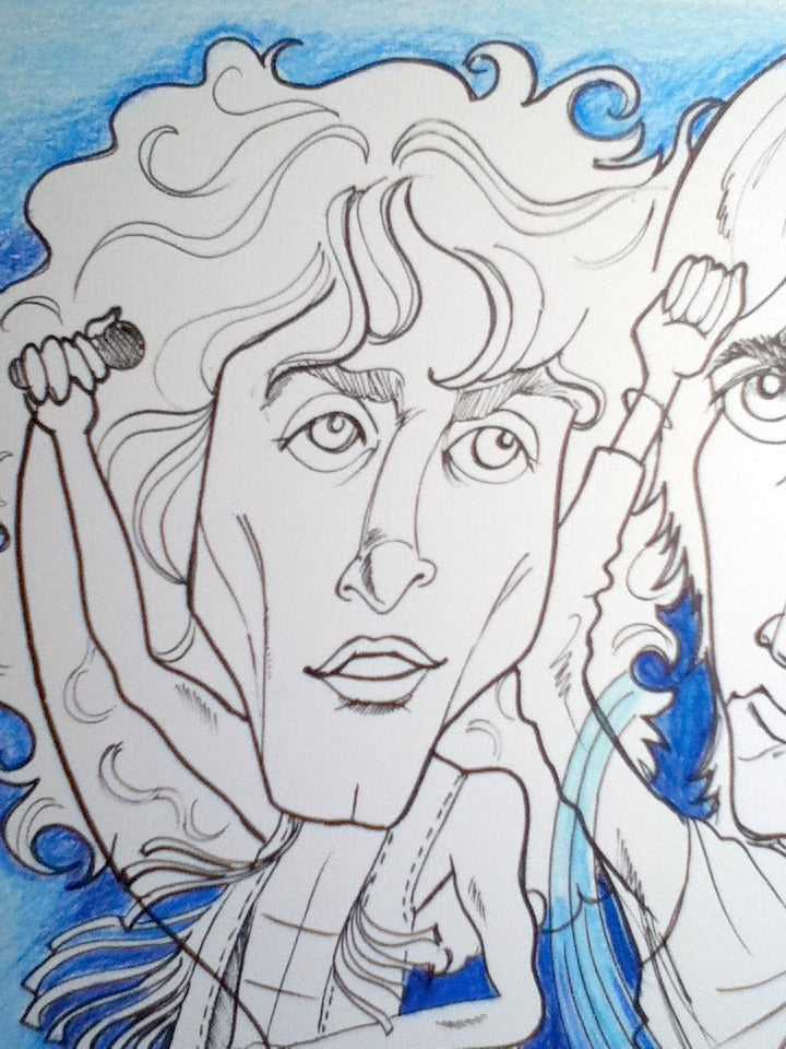 Roger Daltry and Pete Townsend The Who Rock and Roll Caricature