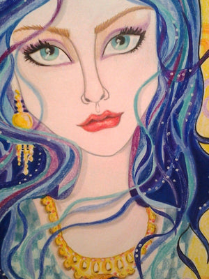Ciara Gold and Blue Fantasy Face Art Print