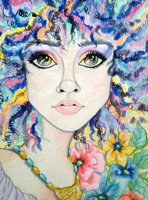 Rainbow Hair Fantasy Face Pop Portrait Art Print