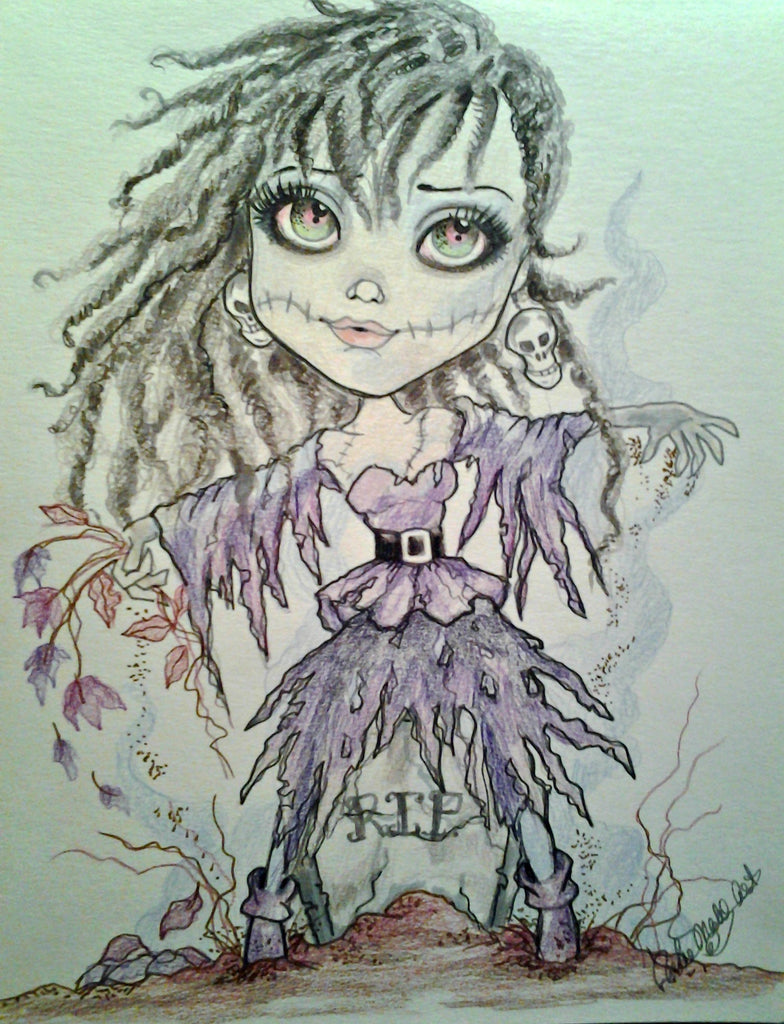 Zombie Prom Date Fantasy Big Eye Art Print by Leslie Mehl