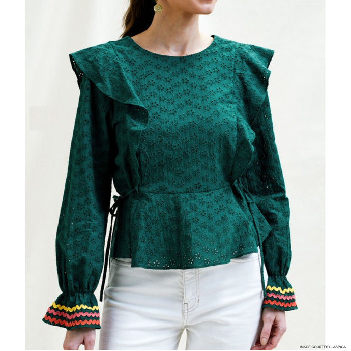 Broderie Anglaise blouse - Forest Green - EMILY LOVELOCK