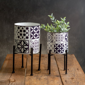 Set of Two Planters with Stands