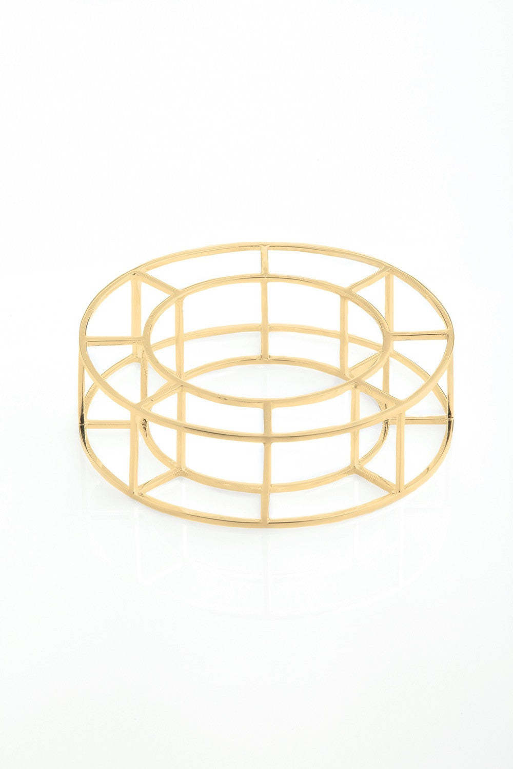 Vera Xane Large Cage Bangle Gold