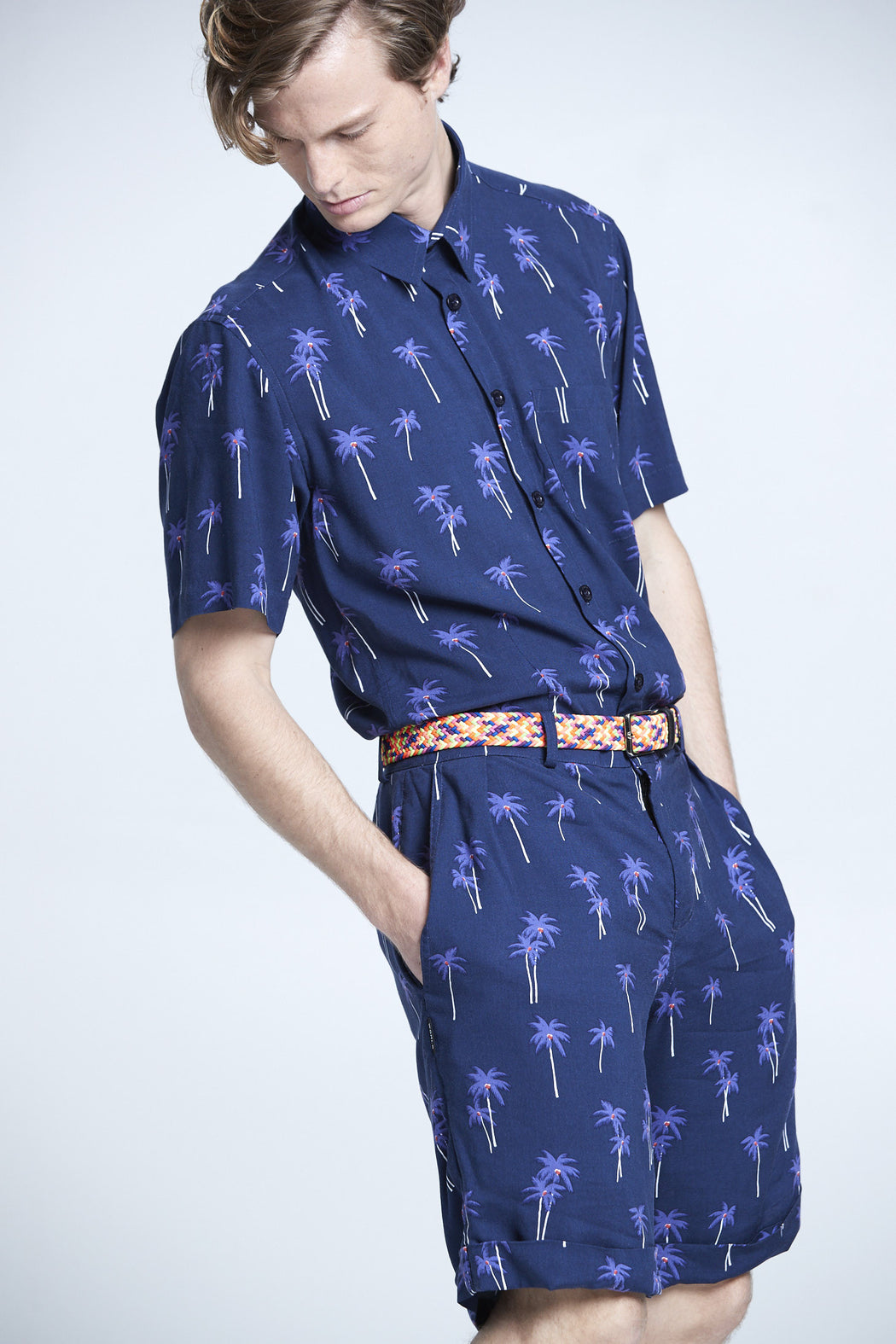 WORLDman 4201 Giuseppe Shirt Navy Palm