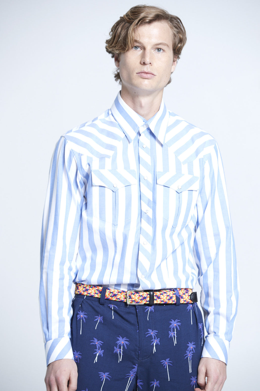 WORLDman 4202 Garibaldi Cowboy Shirt Blue Stripe