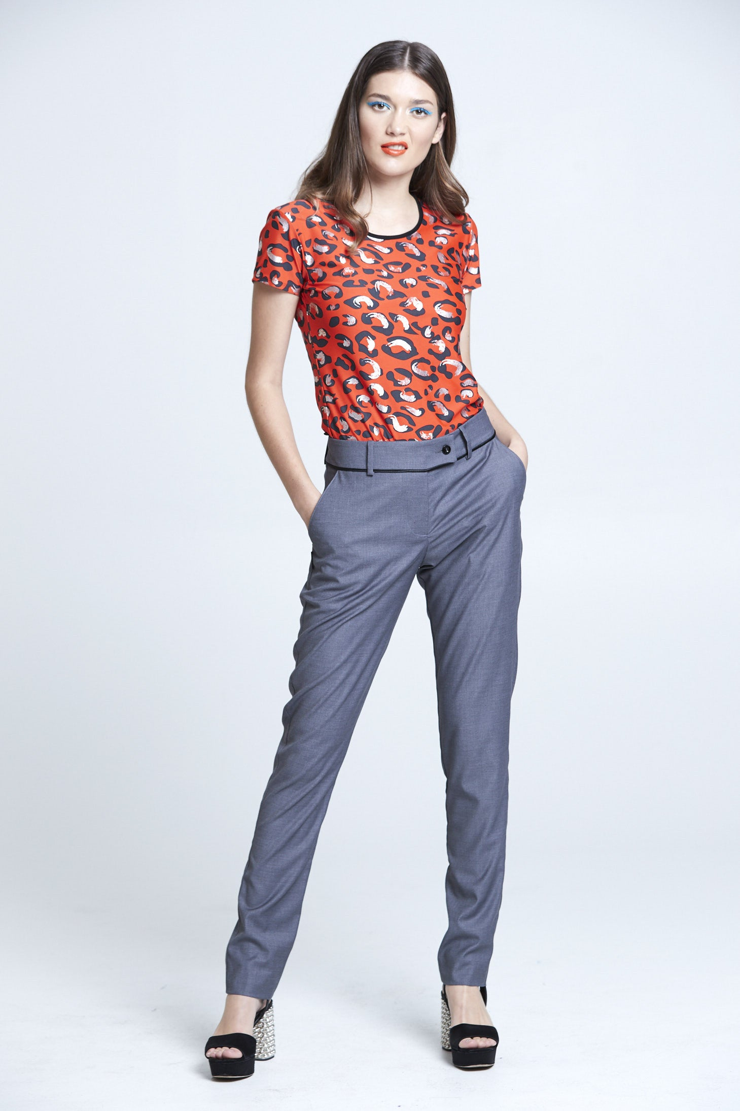 WORLD 4157 Gattopardo Dress Trouser Grey