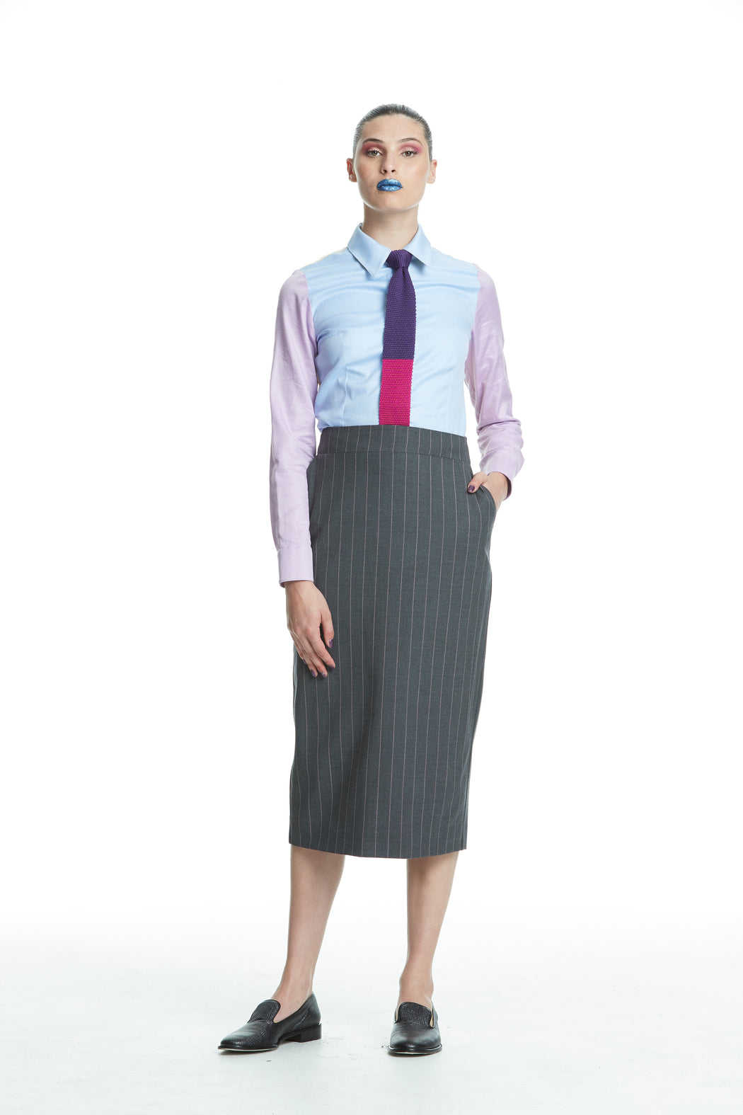 WORLD 4449 The Advertiser Long Pencil Skirt Charcoal Stripe