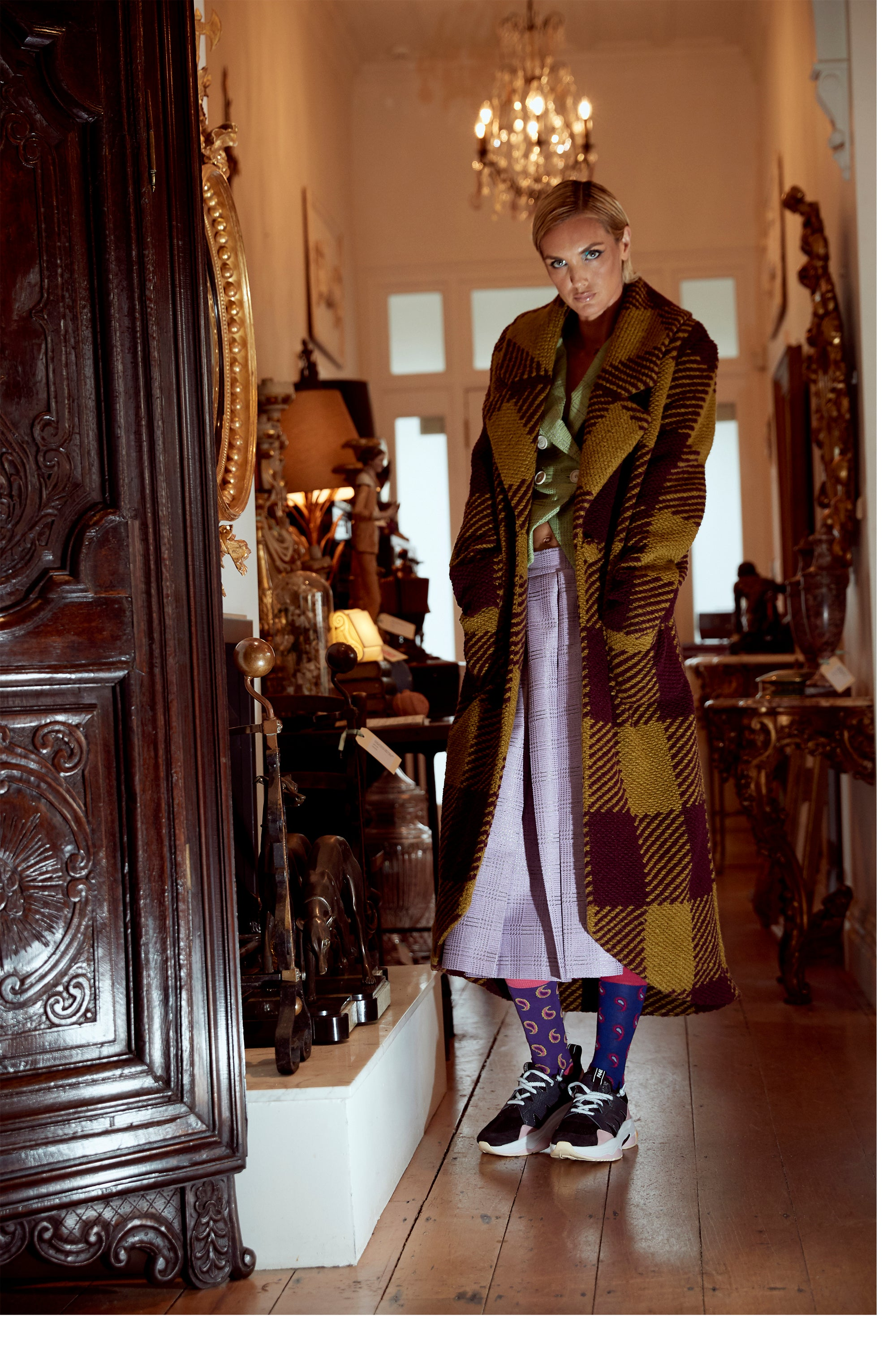 WORLD 4706 Sontag Coat Lime Maroon Check
