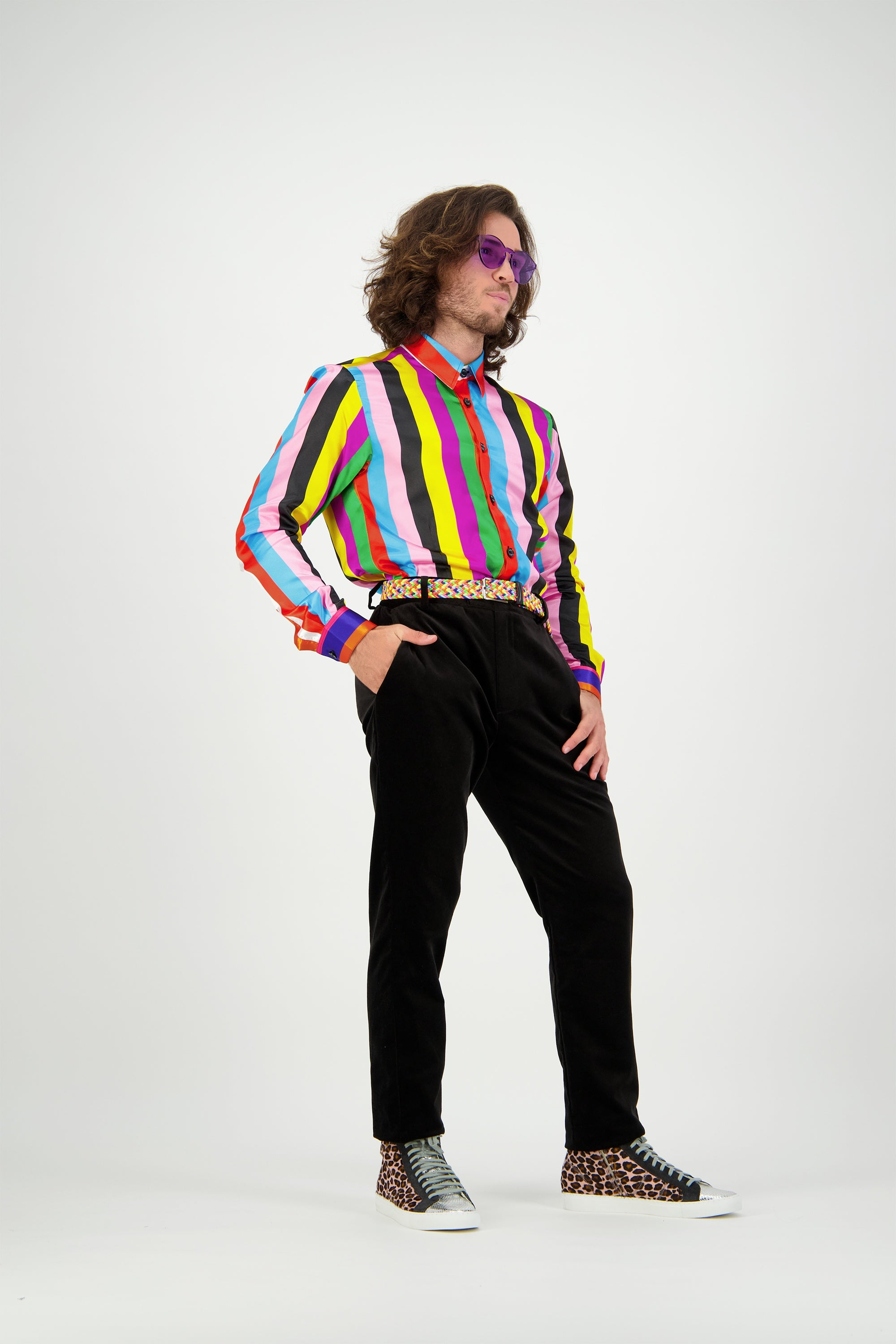 WORLDman 4721 Thurgood Shirt Rainbow Stripes