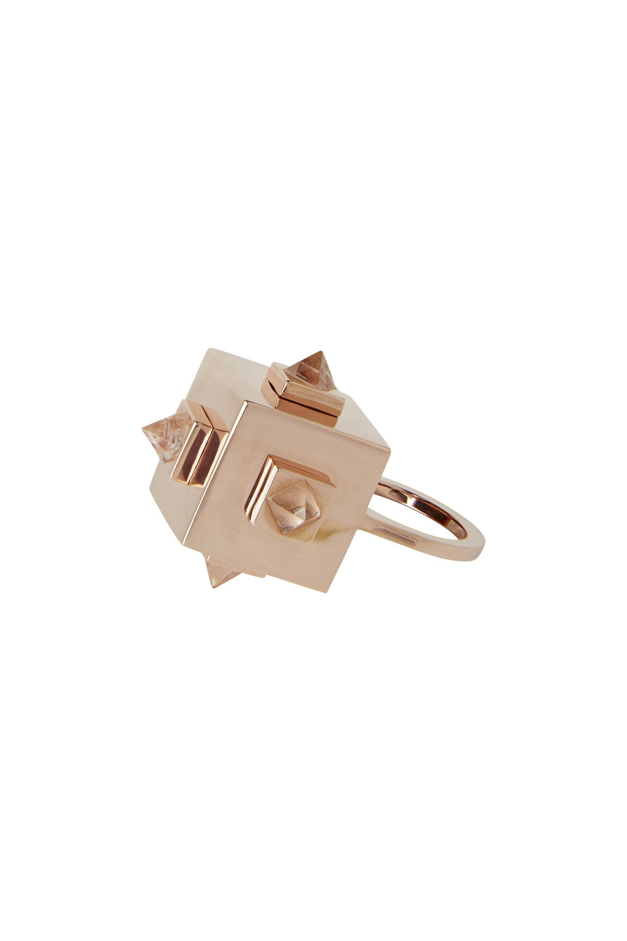 Vera Xane Pyramid Cube Ring Rose Gold