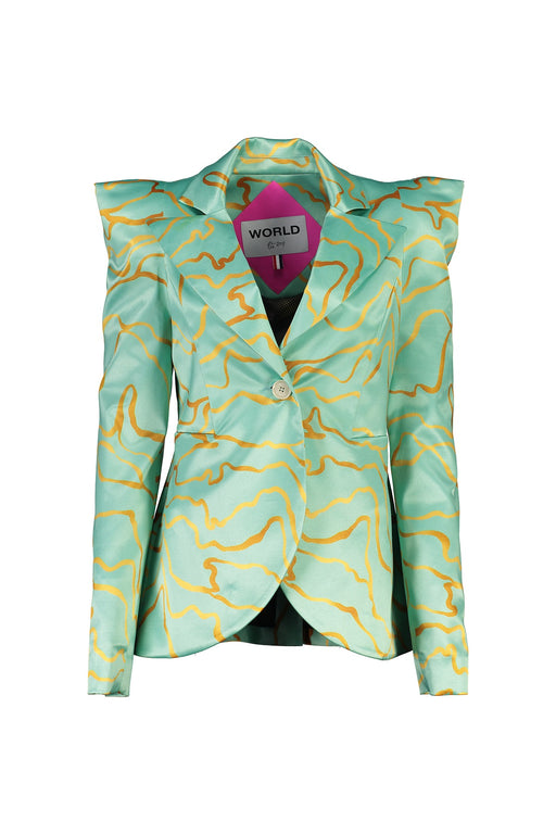 WORLD 4525 Misconstrued Blazer Aqua Algae