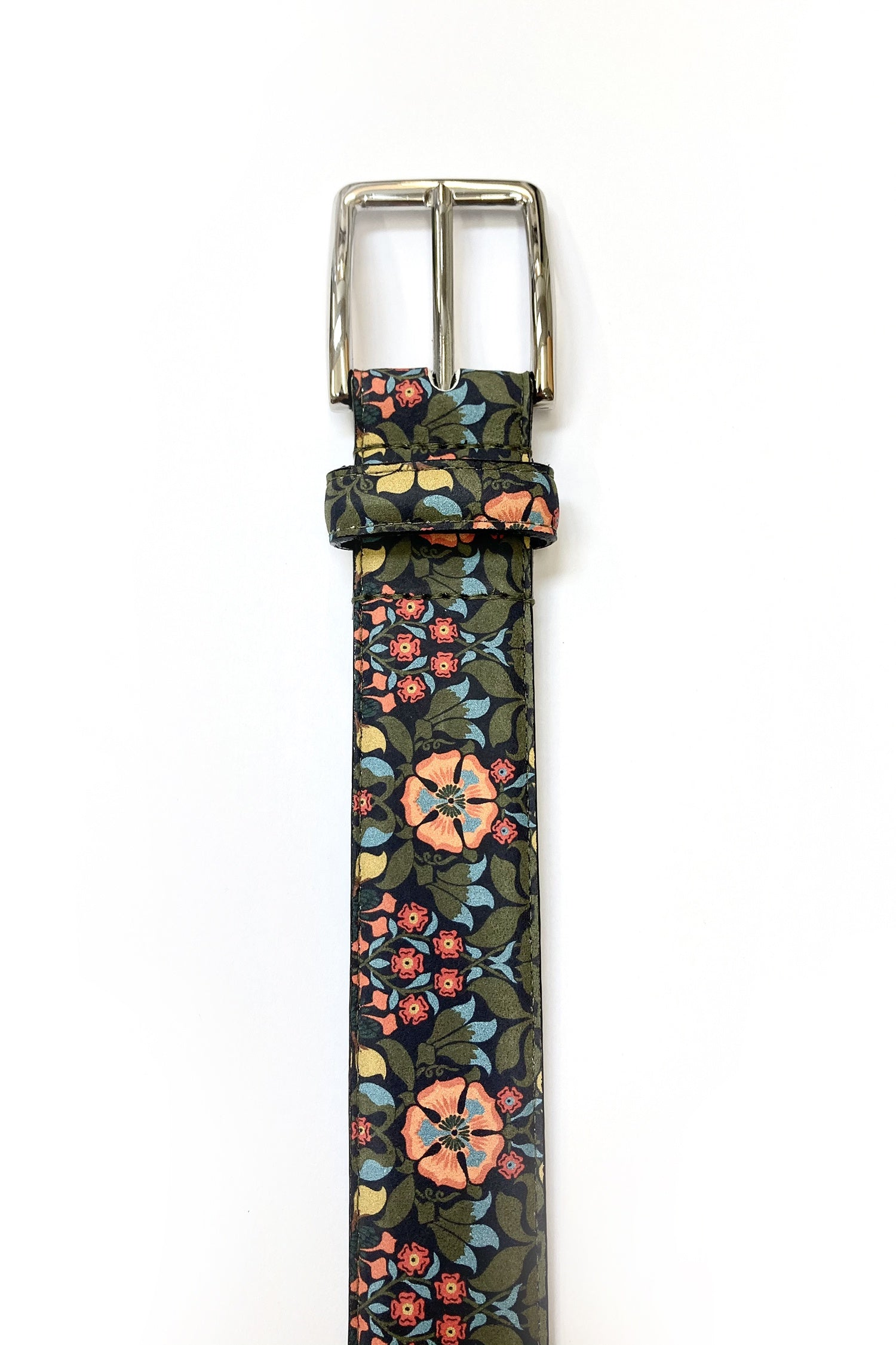 WORLD Liberty Leather Belt - Olive Navy Peach Floral